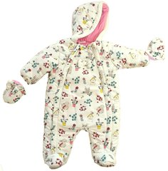"Mini Moi ""Wildlife"" snow suit for baby girl. To fit ages 0-12 months Ivory/multi coloured"