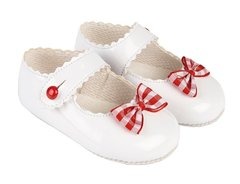 White patent shoes with gingham bow