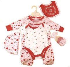 """Sweet Heart"" Red and White gift set of All-in-One, Body Suit, Hat, Bib and Mittens"