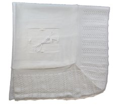 Bee Bo deluxe white unisex shawl with a deep lacy knitted border and ribbon detail.