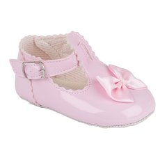 Baypod Baby Girl Patent Shoe with Buckle Fastening and Bow