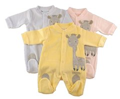 Just Too Cute Velour All-In-One with Giraffe Applique