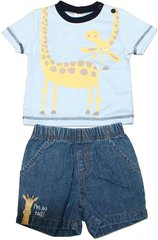 "Cheeky Chimp ""Look at me I'm so tall"" Giraffe Shorts and T-shirt baby boy set."