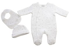 Just Too Cute 'Stars' all-in-one quilted 3 piece set. Available to fit size Newborn to 6 months.