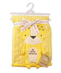 Minky blanket with 3D Leopard detail - Yellow