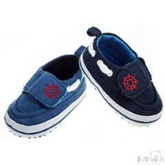 Soft Touch Baby Boy Boat Shoes with gripper soles.