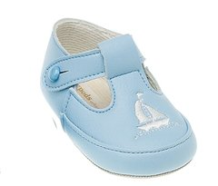 Baby blue soft soled shoe with yacht embroidery