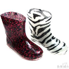 Soft Touch Rain Wellington Boots - Animal Prints Black/White or Red/White.