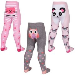 Three Pairs of Cute Baby Girl Novelty Tights - Cat, Panda and Owl.