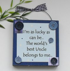 Uncle Wooden Gift plaque Blue