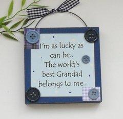 Grandad Gift Blue Wooden Plaque