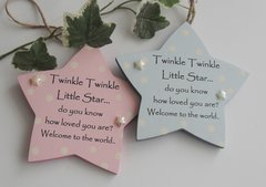 Twinkle Twinkle Twin Baby Wooden Star Gift pPaque