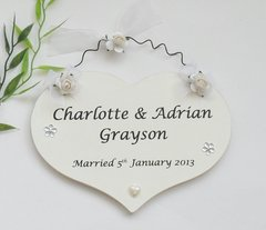 Wedding Day Personalised Keepsake Gift heart for Bride and Groom