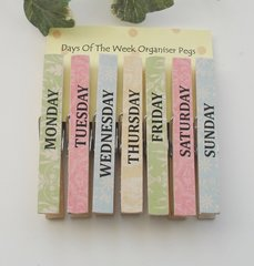 Large Shabby Chic Days Of The Week Organiser Pegs 9 cm Long