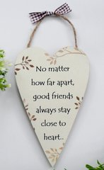 Best Friends Wooden Heart keepsake Gift Plaque/Sign with jute hanger