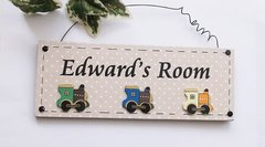 personalised Train Bedroom Door Plaque