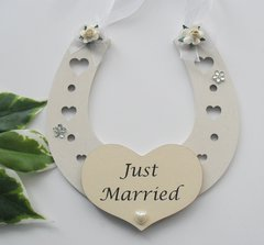 Wooden Horseshoe Wedding Gift - Just Married Keepsake Gift