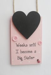 Weeks Until I Become a Big Sister Countdown Wooden Plaque