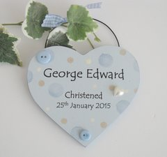 Blue Dotty Christening Heart Wooden Plaque