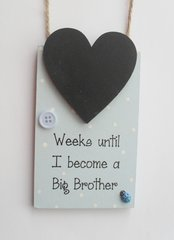 Weeks Until I Become a Big Brother Countdown Wooden Plaque