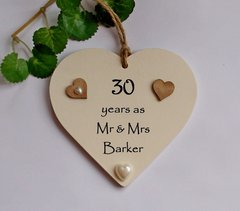 Anniversary heart years as Mr & Mrs wooden plaque