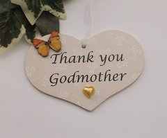 Thank You Godmother Little Heart Gift Plaque