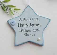 Personalised Star is Born New Baby Boy Wooden Plaque