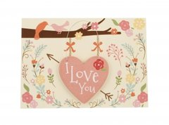 I love you Valentines card with little detachable wooden hanging keepsake plaque