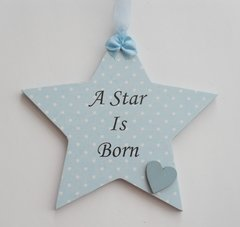 A Star is Born Baby Boy Wooden Star