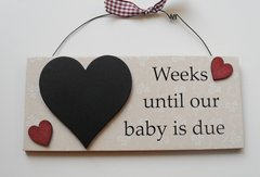 Weeks until our baby is due countdown plaque