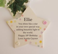 Personalised 18th Birthday Gift Wooden star plaque