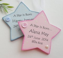 Personalised Star is Born New Baby Twins Wooden Plaque
