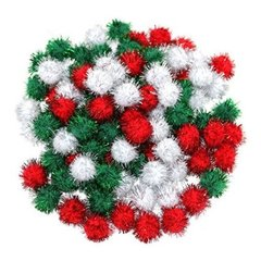 Red, Green and White Christmas Pompoms