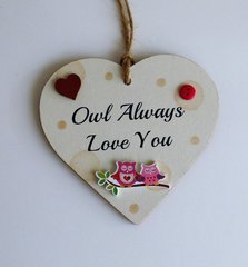 Owl always love you wooden gift heart
