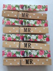 Mr & Mrs Decorative Wooden Pegs