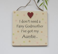 Auntie Fairy Godmother Spotty Dotty Plaque Quality Wooden Handmade Gift