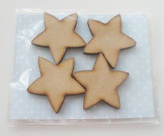 Laser Cut Chunky wooden Stars set of 4