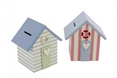 Beach Hut Money Box in Blue or Pink