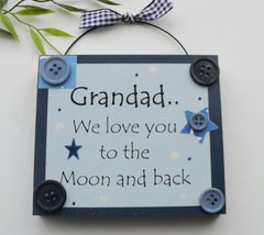 Grandad we love you to the moon and back wooden keepsake plaque