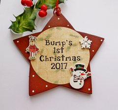 Bump's First Christmas 2017 wooden Star plaque
