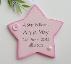 Personalised Star is Born New Baby Girl Wooden Plaque