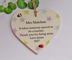 Personalised Teacher Wooden Plaque Male and Female