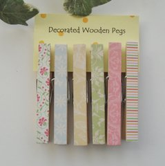 Decorated Wooden Pegs 7 cm Set of 6