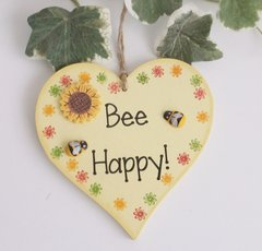 Bee Happy Fun Wooden Heart
