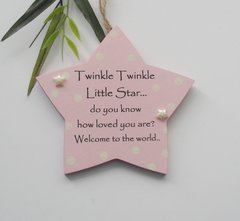 Twinkle Twinkle baby girl wooden star gift plaque