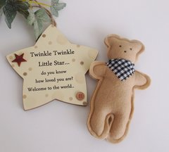 Twinkle Twinkle Neutral wooden star and Mr Ted gift set