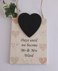 Days Until We Get Married Personalised Hearts Chalkboard Wooden Keepsake Plaque