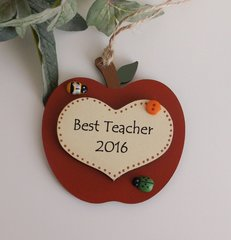 Best Teacher Apple and Heart Wooden Plaque