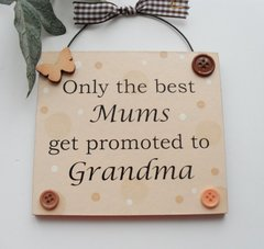 Only the best Mums get promoted to Grandma peach wooden gift plaque