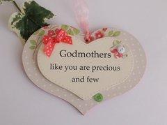 Godmother Double Plaque Keepsake Gift Heart Wooden Plaque